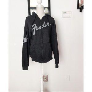 Fender Gray Long Sleeve Zip Up Hoodie Jacket